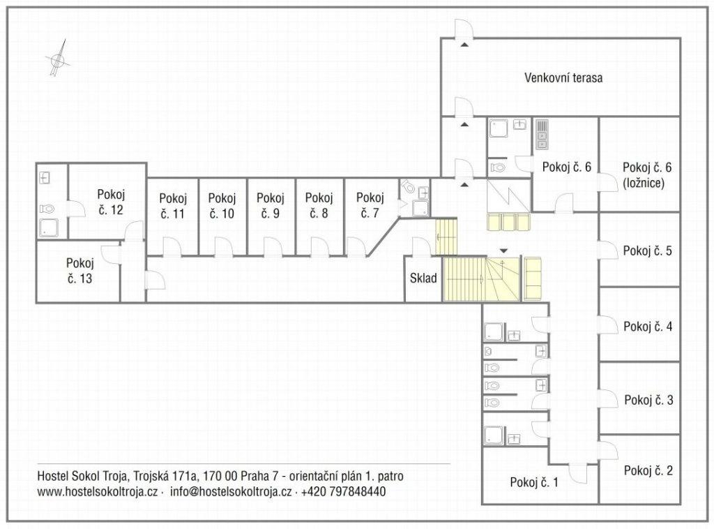 Orientační plán hostelu